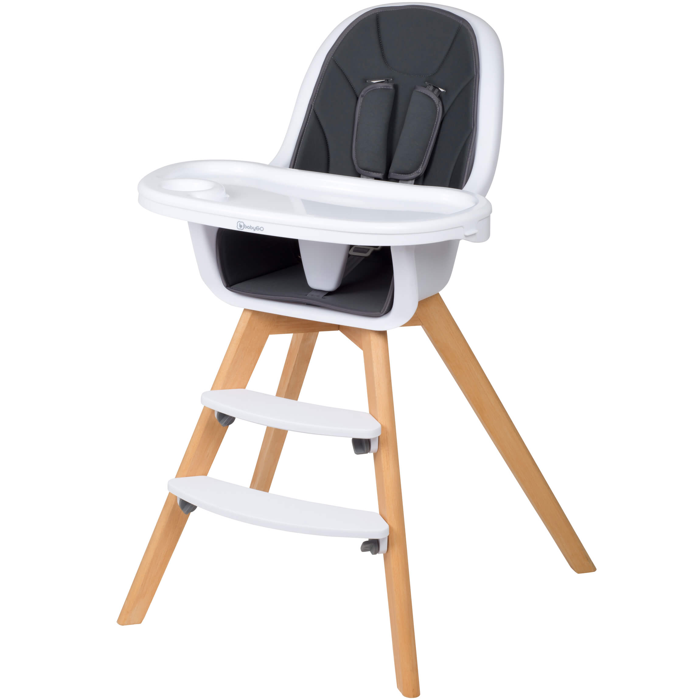 Babygo Amadeus Wooden High Chair Grey With Seat Reducer And Tray