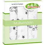 ODENWÄLDER Double gauze cloth diapers size 80 cm x 80 cm animals beige NEW